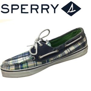 Sperry Blue & White Cloth Topsider Shoe 10